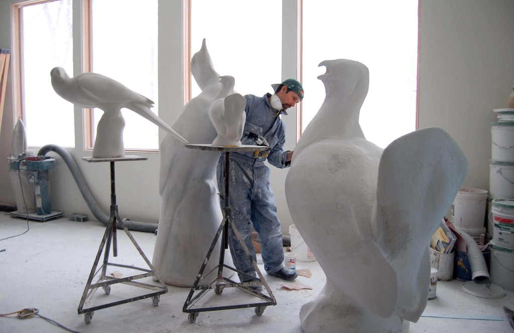Artist Todd McGrain works on plaster molds in his studio