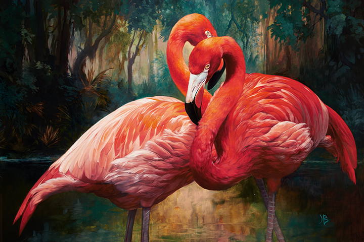"""Flamingos"" by Julie Bell"