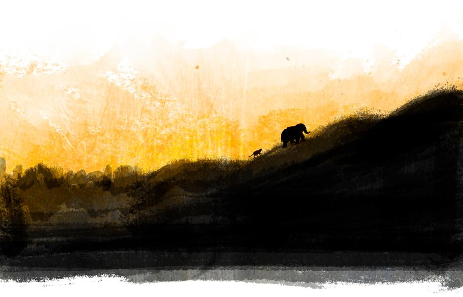 Elephant and Companion on the Horizon by Rebecca Jordan Glum