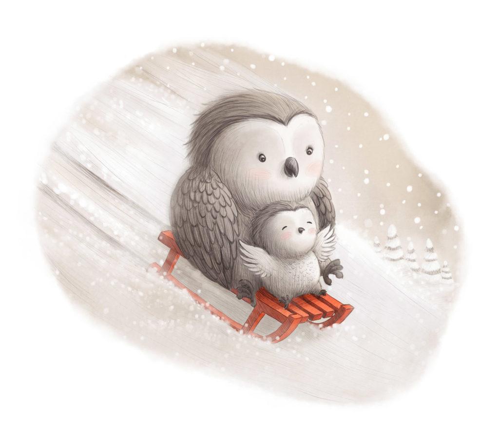 """Sledging Owls"" by Ramona Kaulitzki"