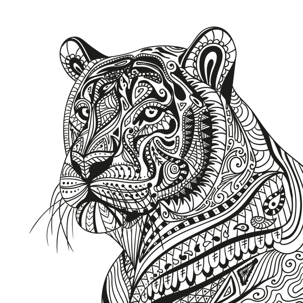 Vector Illustration of an Abstract Ornamental Tiger by Ramona Kaulitzki